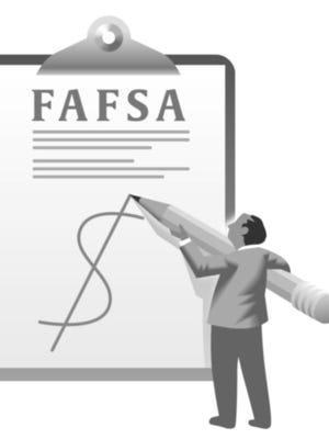 Illustration of a college student filling out a federal student financial aid form.