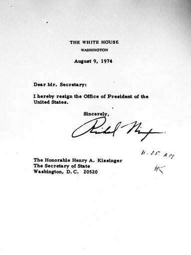 This picture shows President Richard Nixon's letter of resignation to Secretary of State Henry Kissinger, August 9, 1974.  (AP Photo/White House )