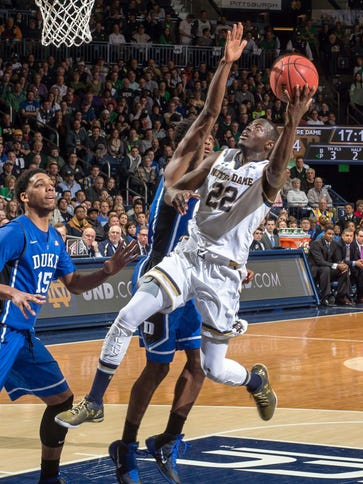 Notre Dame guard Jerian Grant  goes up for a shot as