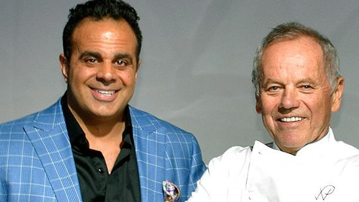 Bobby Nahra, left, and Wolfgang Puck shared tips.