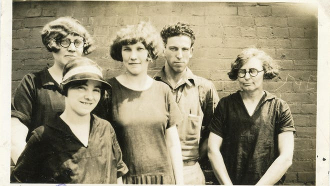 Dora (center) with fellow TKWM workers Fern Harper, Christina Heman, Chester Page and Mrs. Grable in the late 1920s.