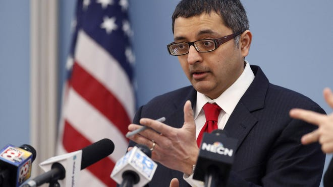 Dr. Nirav Shah, director of the Maine Center for Disease Control and Prevention, speaks at a news conference Monday, March 16, 2020, in Augusta, Maine.