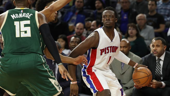 Dec 28, 2016; Auburn Hills, MI, USA; Pistons guard Reggie Jackson looks to pass against the Bucks during the second quarter at the Palace.