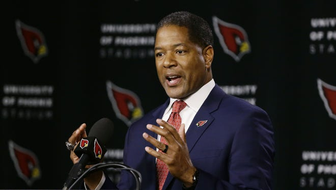 Steve Wilks is introduced as the new head coach of the Arizona Cardinals during a press conference on Jan. 23, 2018 at the Arizona Cardinals Training Facility in Tempe, Ariz. Wilks was the defensive coordinator with the Carolina Panthers.