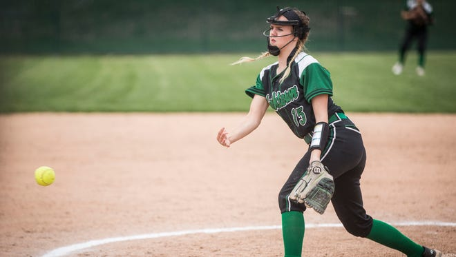 Yorktown's Kaylyn Coahran pitches the ball during the championship of the Delaware County Softball Tournament on May 5 at Wes-Del High School. Yorktown won the championship over Delta with a score of 7-0.