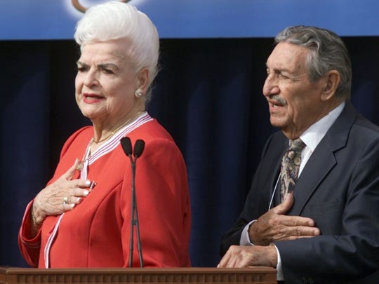Former governors Rose Mofford and Raul Castro say the pledge of allegiance during Janet Napolitano's inauguration as the twenty first governor of Arizona by Chief Judge Mary Schroeder of the 9th Circuit Court Of Appeals. Castro died on April 10, 2015.