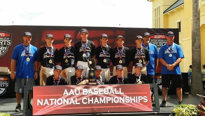Jordan Pendley and the Mountain Expos 13U Black baseball team won the AAU Grand Nationals tournament last month in Orlando.