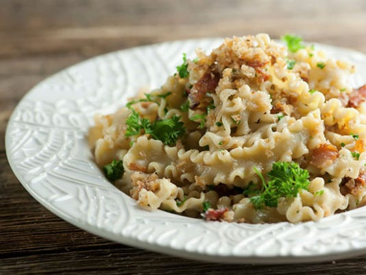 Pasta with bread crumbs and bacon