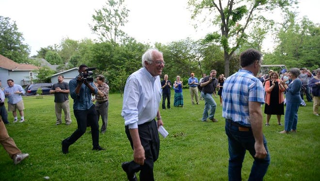 Bernie Sanders a backyard campaign event in West Branch, Iowa, on May 29, 2015.