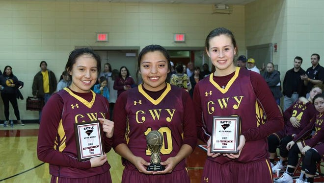 Cherokee girls basketball players Tori Teesateskie, Pooh King and Raylen Bark.