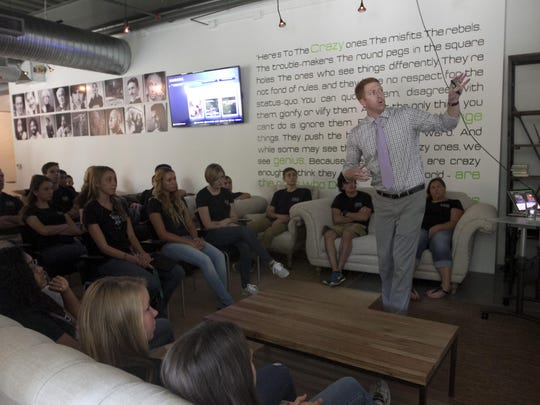 File photo: Brett Diamond of Venture X talks about his company to students from the 2014 CEO Academy in Naples. Brett Diamond of Venture X talks about his company to the students from the 2014 CEO Academy on Wednesday in Naples.