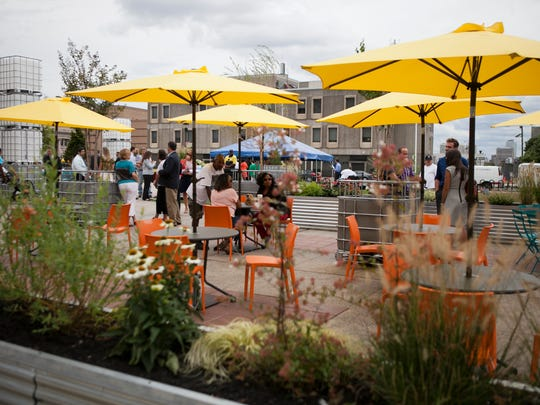 A pop-up park at Roosevelt Plaza Park is seen before the official unveiling of the space, Monday, September 8, 2014 in Camden.