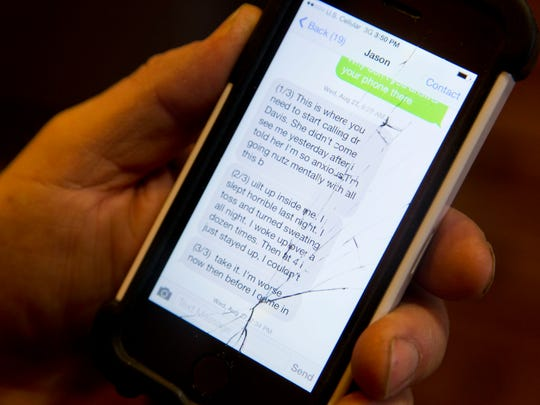 """A text message from Marine Corps veteran Jason """"Jake"""" Simcakoski to his father, before Simcakoski died Aug. 30, says that he felt """"worse now"""" than before he started treatment at the Tomah VA facility."""