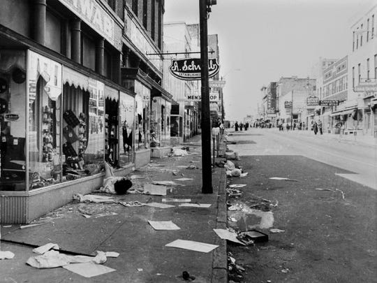 The scene along Beale Street following the breakup of a march led by Dr. Martin Luther King Jr. March 28,1968.  In the wake of the violence, a curfew was imposed and more than 3,800 National Guardsmen were rushed to the city.