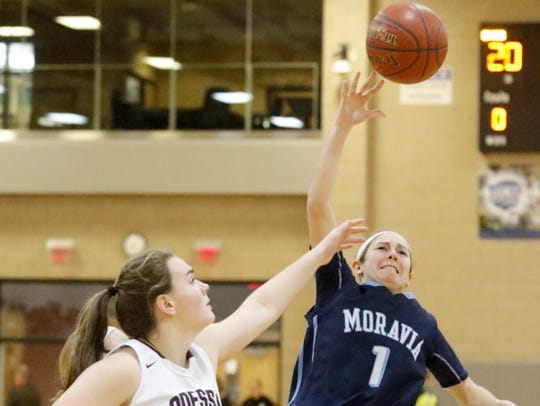 Allie Genson puts up a shot for Moravia as Gillian