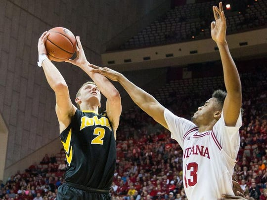 Castle graduate Jack Nunge (2) was given another year of eligibility to play for the University of Iowa by the Big Ten Conference.