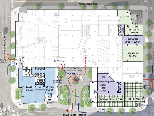 The Demonbreun ground floor plan for the project planned at 12th and Demonbreun.