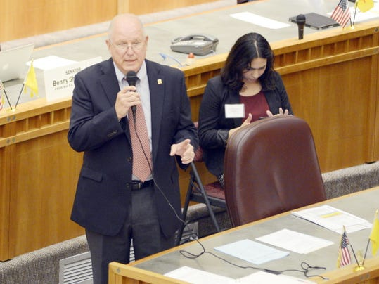 Senate majority floor leader Sen. Michael S. Sanchez of Belen addresses the senate Monday during the 52nd legislature's special session at the New Mexico state capitol in Santa Fe.