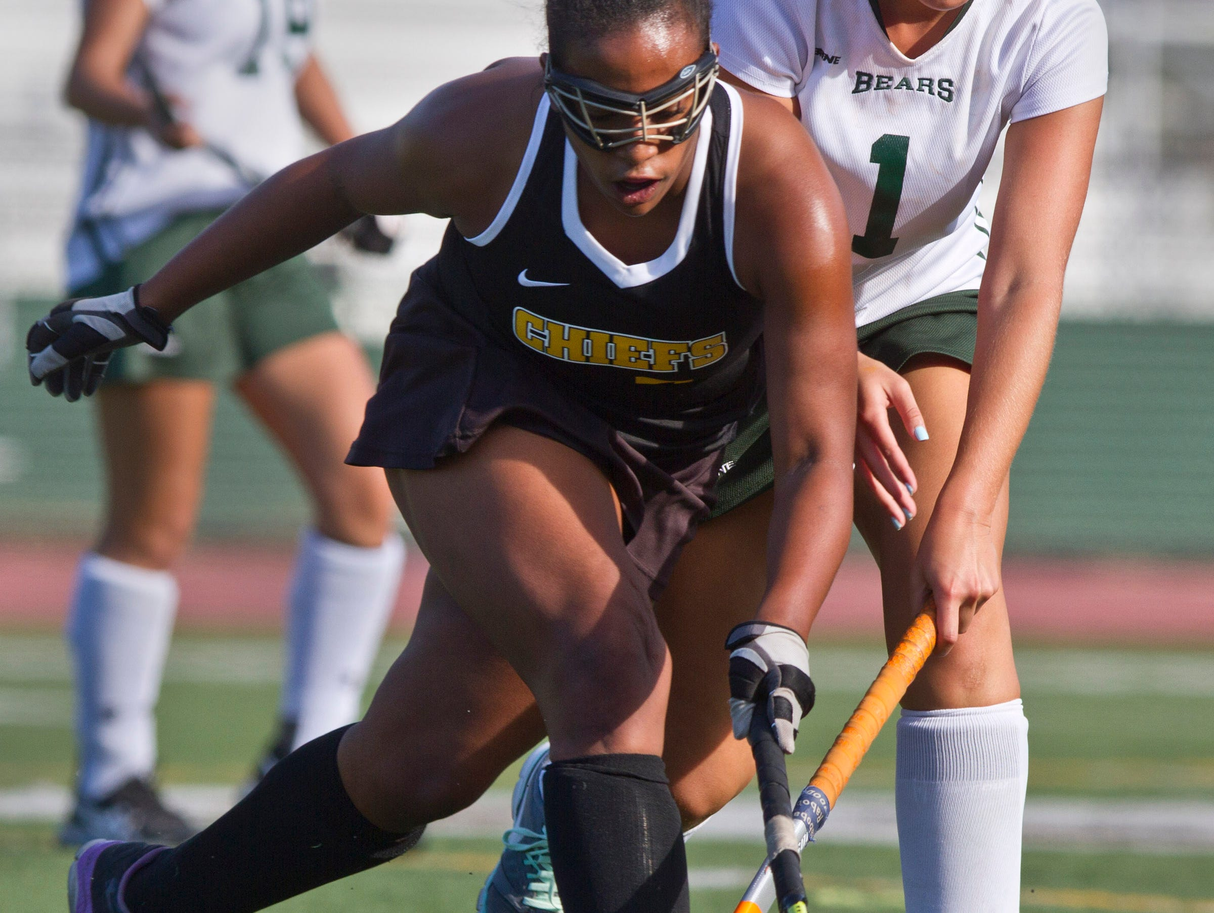 Piscataway's Imanni Reeves takes the ball from East Brunswick's Rochelle Podolsky. Piscataway vs East Brunswick field hockey. 72670492 East Brunswick, NJ Thursday, September 24, 2015 @dhoodhood