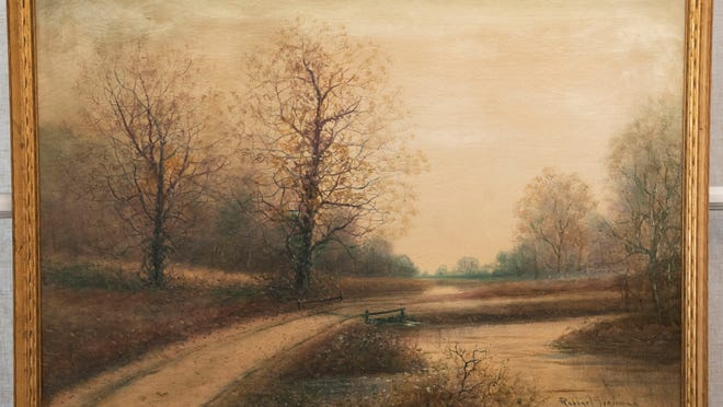 A painting of Newton Creek by artist Raphael Senseman hangs at the Camden County Historical Society in Camden.