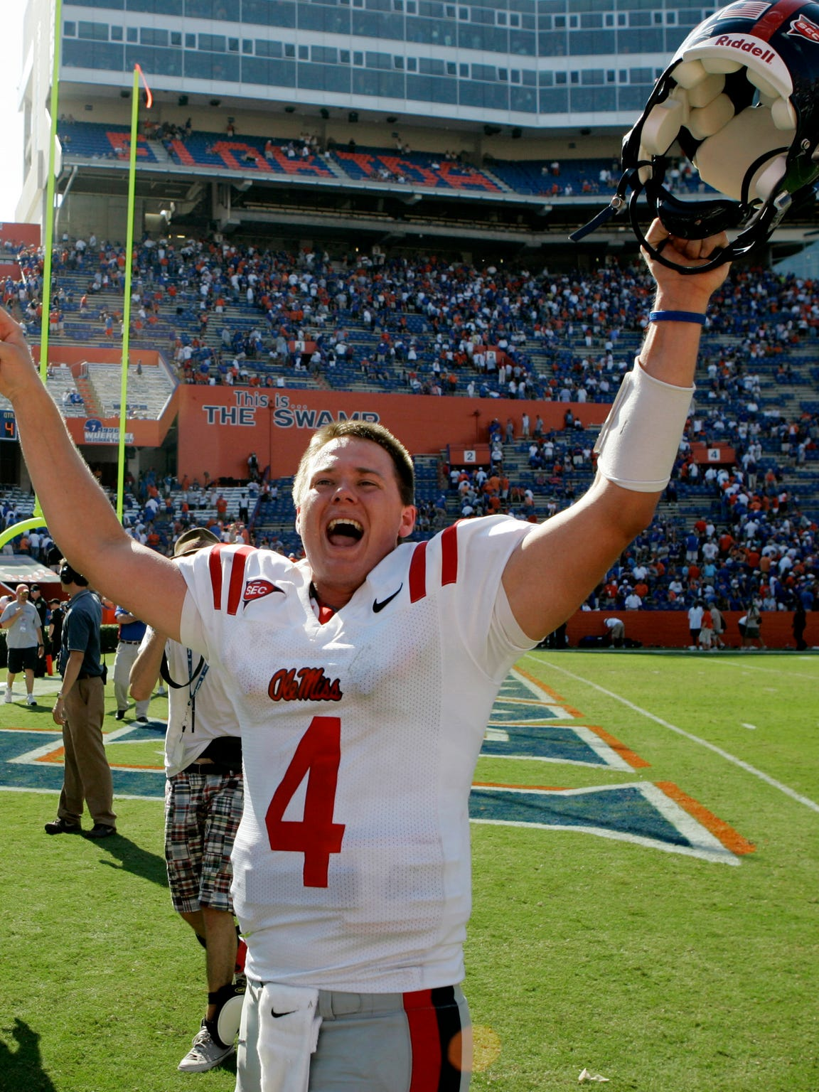 Mississippi quarterback Jevan Snead celebrates after the defeated No. 4 Florida 31-30 in an NCAA college football game in Gainesville, Florida, on Sept. 27, 2008.