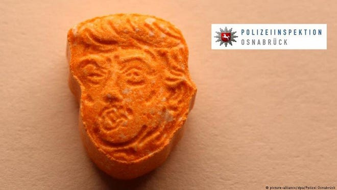 An ecstasy pill in the form of President Trump's head that was confiscated in Germany.