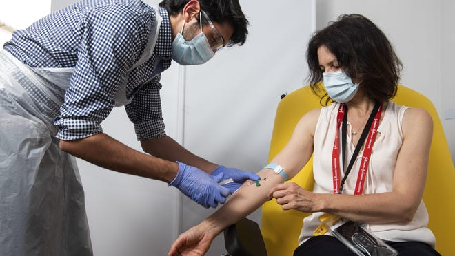 In this handout photo released by the University of Oxford a doctor takes blood samples for use in a coronavirus vaccine trial in Oxford, England, Thursday June 25, 2020. Scientists at Oxford University say their experimental coronavirus vaccine has been shown in an early trial to prompt a protective immune response in hundreds of people who got the shot. In research published Monday July 20, 2020 in the journal Lancet, scientists said that they found their experimental COVID-19 vaccine produced a dual immune response in people aged 18 to 55. British researchers first began testing the vaccine in April in about 1,000 people, half of whom got the experimental vaccine.