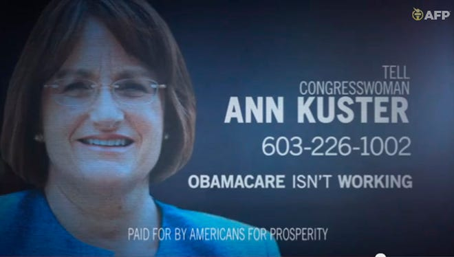 This undated framegrab image from video provided by Americans for Prosperity, shows a political ad against Rep. Ann McLane Kuster, D-N.H. stating the Affordable Care Act is not working. A new analysis finds the nation?s health care overhaul deserves a place in advertising history as the focus of extraordinarily high spending on negative political TV ads that have gone largely unanswered by the law?s supporters. The report, released Friday by nonpartisan analysts Kantar Media CMAG, estimates $445 million was spent on political TV ads mentioning the law since the enactment of the Affordable Care Act in 2010. Spending on negative ads outpaced positive ones by more than 15 to 1. (AP Photo/Americans for Prosperity)