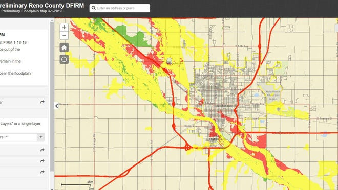 The Reno County Commission on Tuesday approved adoption of this new federal flood plain map. Areas in red were added to the flood plain, while areas in green were removed.