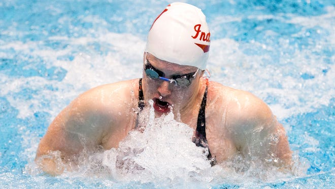 Lilly King wins the 100 meter breaststroke with a time of 34.80 seconds, National Championships for swimming, IUPUI Natatorium, Indianapolis, Friday, June 30, 2017.