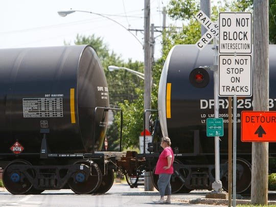 A train with mechanical issues stalled traffic near Old New Castle in August 2014.