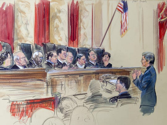 This artist rendering shows civil-rights lawyer Mary Bonauto arguing before the Supreme Court during its hearing on same-sex marriage, Tuesday, April 28, 2015, in Washington.