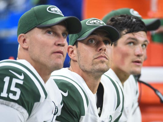 Aug 19, 2017; Detroit, MI, USA; New York Jets quarterback Josh McCown (15) , quarterback Bryce Petty (9) and quarterback Christian Hackenberg (5) during the second quarter against the Detroit Lions at Ford Field. Mandatory Credit: Tim Fuller-USA TODAY Sports
