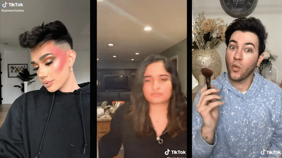 Creative TikTok transitions, like opening and closing the fridge, or briefly covering the camera with a makeup brush, are a great way to make a video montage with friends.