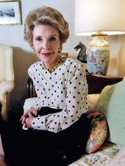 A 1989 file photo of Nancy Reagan at her office in Los Angeles. The influential former first lady died on Sunday, March 6, 2016, at 94.