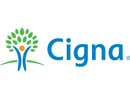 Cigna logo of a person-graphic as the trunk of a tree with green leaves.