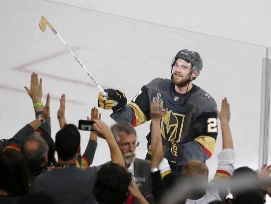 Vegas Golden Knights defenseman Shea Theodore gives
