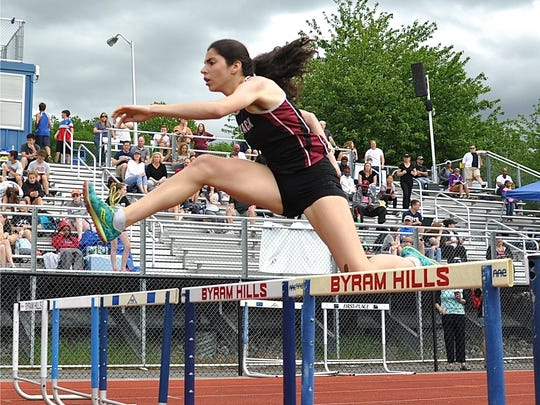 Nyack's Louise Jones sets Class B Championship record in the girls 400 hurdles..