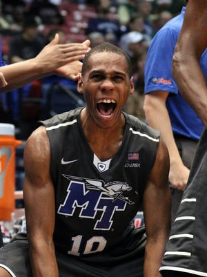 Jaqawn Raymond (10) and the Blue Raiders are headed for the C-USA tournament in Birmingham.