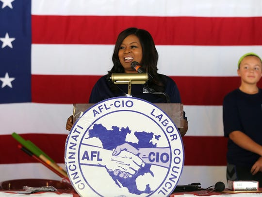 State Rep. Alicia Reece speaks during the 2017 Cincinnati AFL-CIO Labor Day Picnic, Monday, Sept. 4, 2017, at Coney Island.