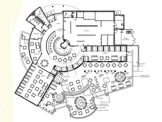The site plan for the Tin Rooster restaurant, which