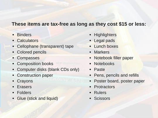 List of tax-free items.