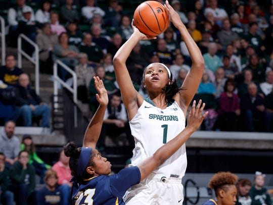 Michigan State's Sidney Cooks, right, shoots against