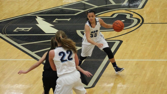 MND guard Gabby Marshall (33) makes her move around a pick set by Abbie Voss (22).