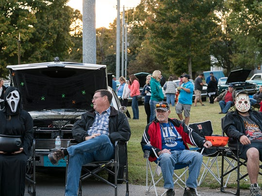 "Pleasant View, Tennessee's ""Cruisin' and Groovin'"" on Friday, Oct. 21, 2016. Vintage cars line up along Main Street during the monthly event. On Friday, the  last event of the year was ""trunk-or-treat"" themed."