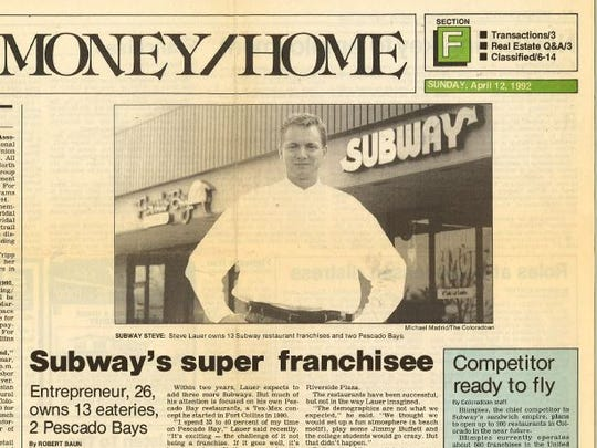 A 1992 Coloradoan business section cover features a profile of a then 26-year-old Steve Lauer.