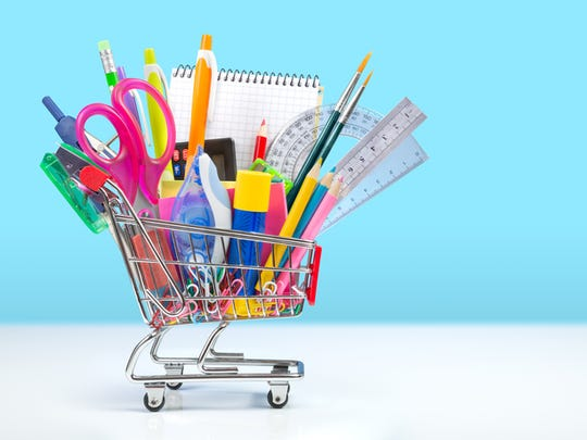 School stationery in shopping cart