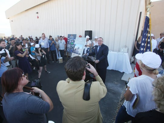 Desert Hot Springs mayor Scott Matas speaks at the