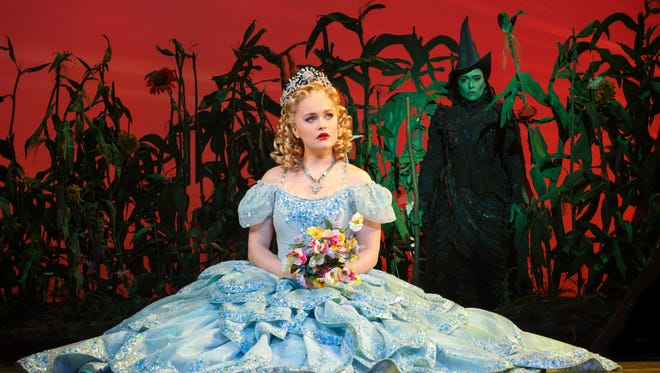 """Amanda Jane Cooper (Glinda) and Jessica Vosk (Elphaba) star in """"Wicked,"""" which kicks off a 12-day run at the Auditorium Theatre on Wednesday, March 29."""