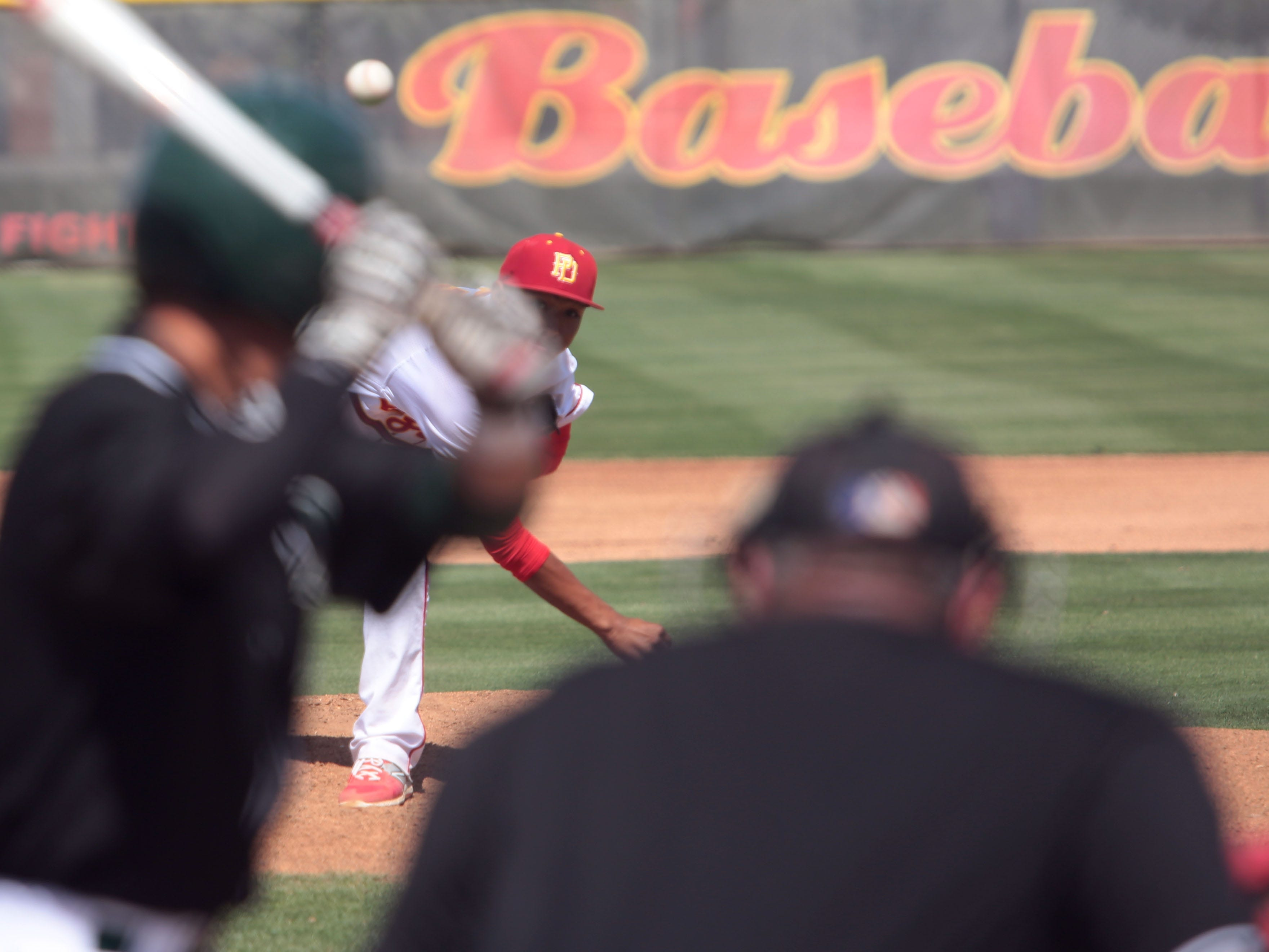Palm Desert's Jeremiah Estrada pitches against Royal High in the title game of the 53rd annual Coachella Valley Rotary Baseball Classic on Thursday afternoon.